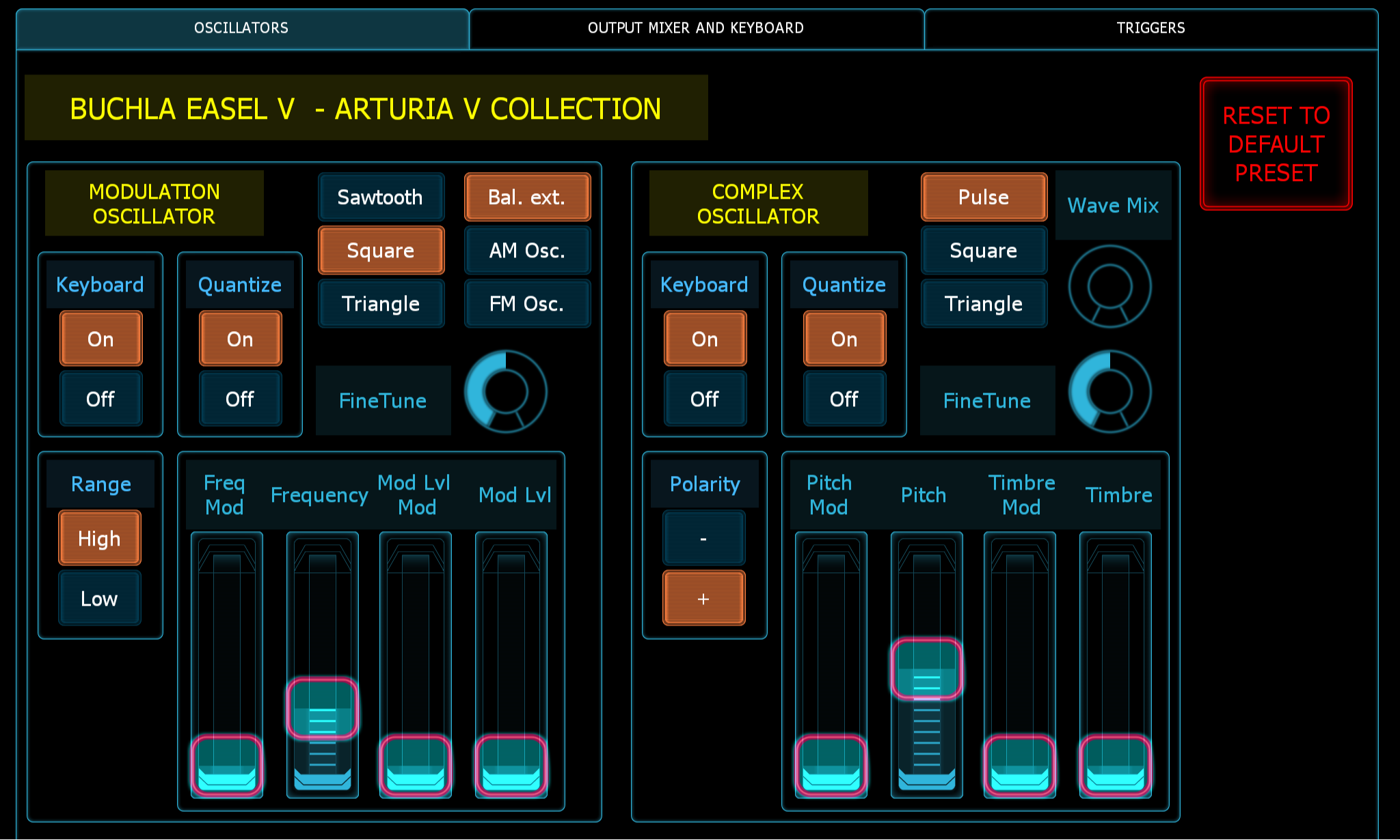 Picture of the Lemur Midi Controller GUI for the Arturia Buchla Easel V virtual instrument