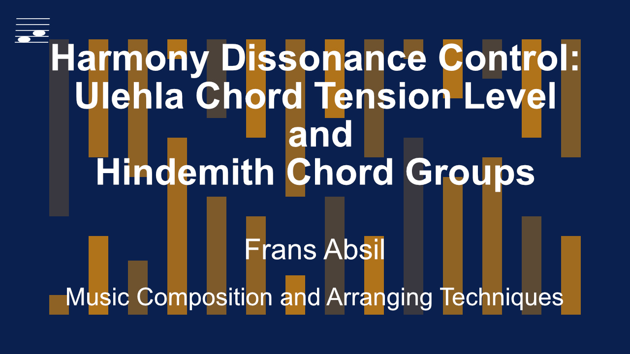 YouTube thumbnail for the video tutorial Harmony Dissonanance Control: Ulehla Chord Tension Level and Hindemith Chord Groups