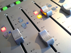 Photograph of audio mixer panel