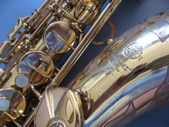 Photo of tenor saxophone keys