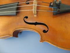 Picture of a violin body with f hole